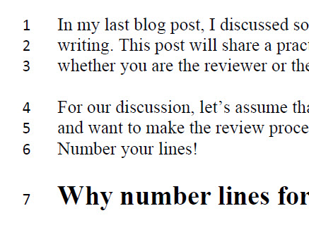 Getting feedback: Number your lines